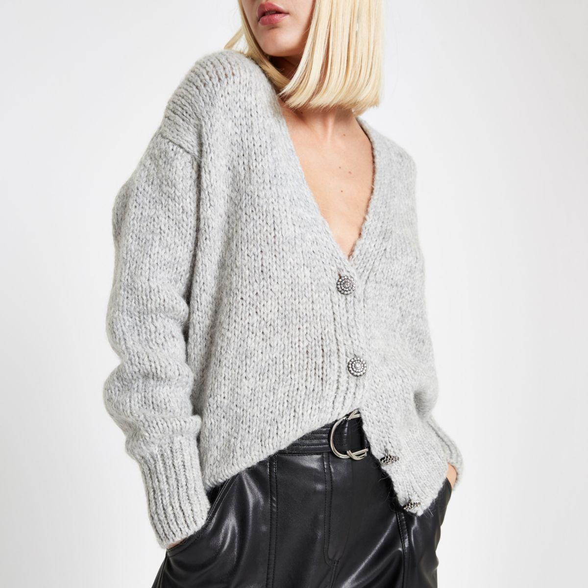Grey rhinestone button knit cardigan