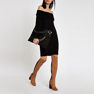 Black bardot neck sweater dress