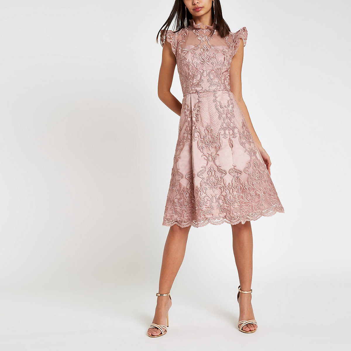 Chi Chi London pink lace flare dress