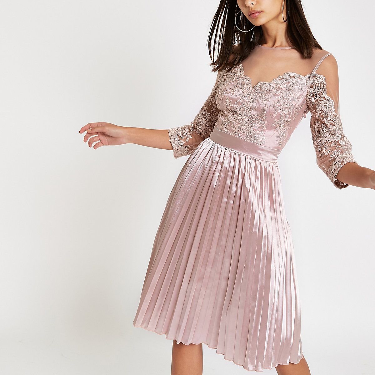 Chi Chi London pink lace mesh flare dress