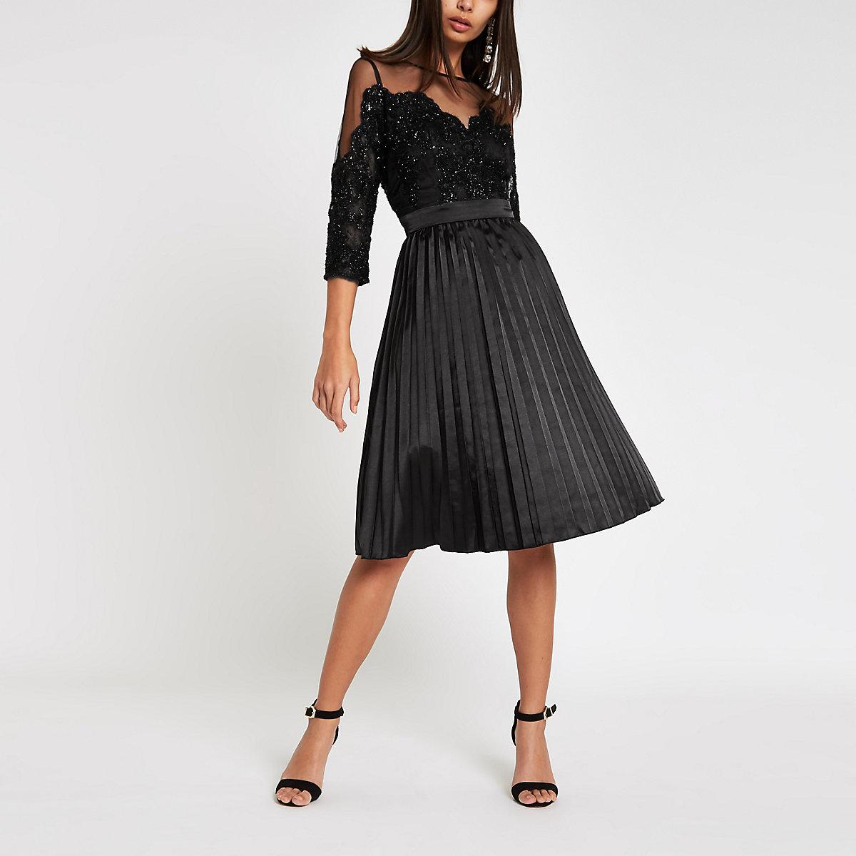 Chi Chi London black lace mesh flare dress