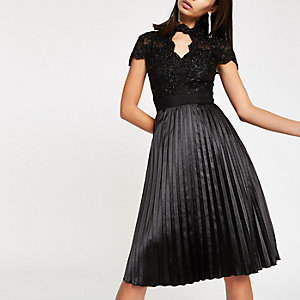 Chi Chi London black lace flare dress