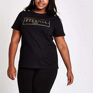Plus black 'Eternel' print T-shirt