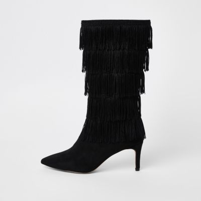 Black Tassel High Leg Boots by River Island