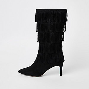Black heat seal tassel high leg boots