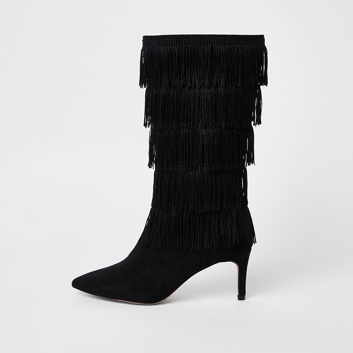 Black tassel high leg boots