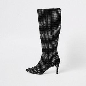 Schwarze, kniehohe Stiefel mit Strassverzierung