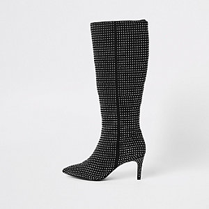 Black rhinestone embellished knee high boots