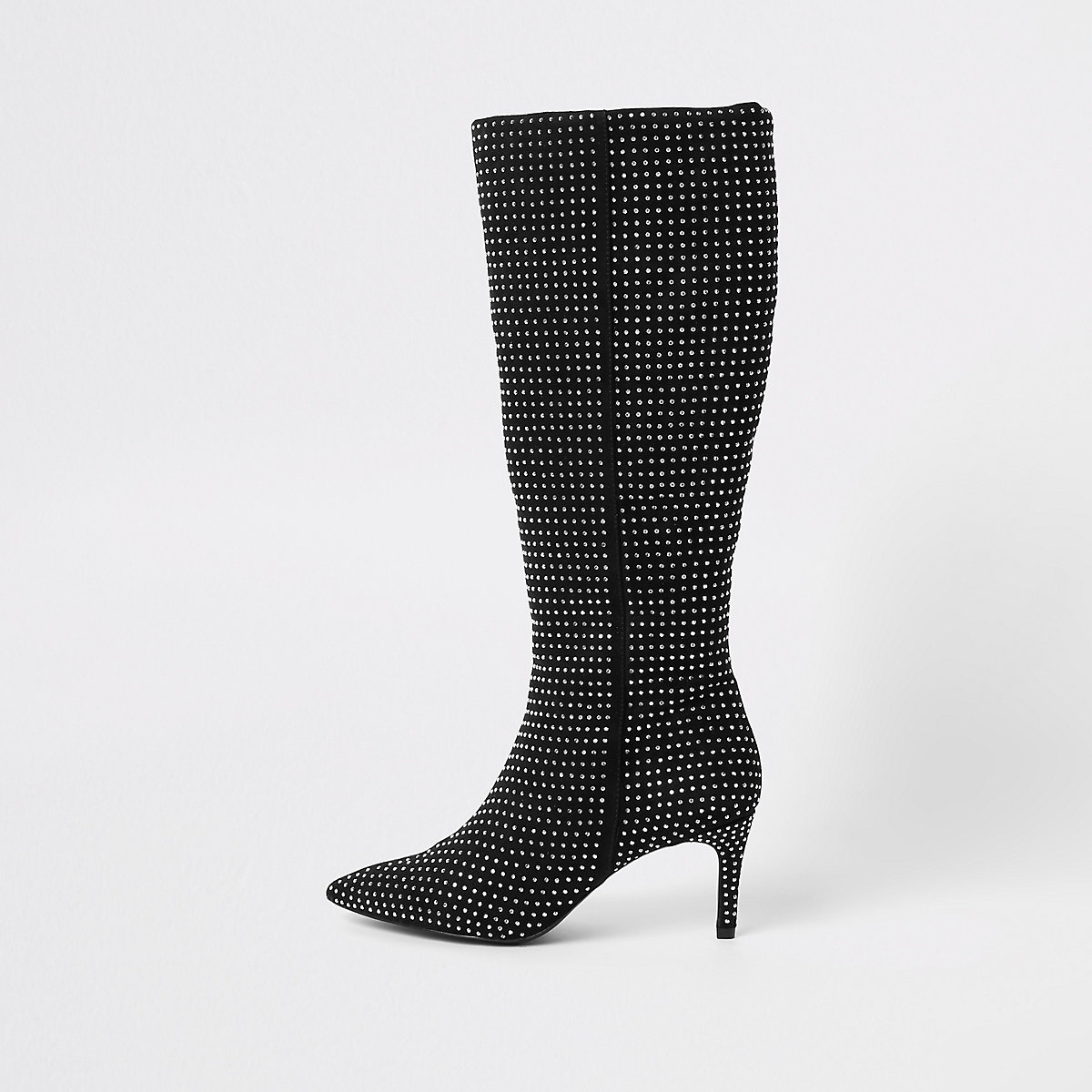 Black diamante embellished knee high boots