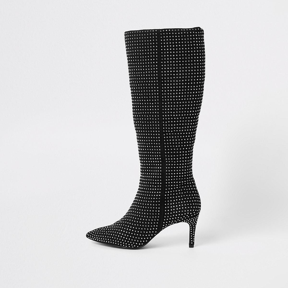 Zwarte verfraaide kniehoge laarzen met diamantjes