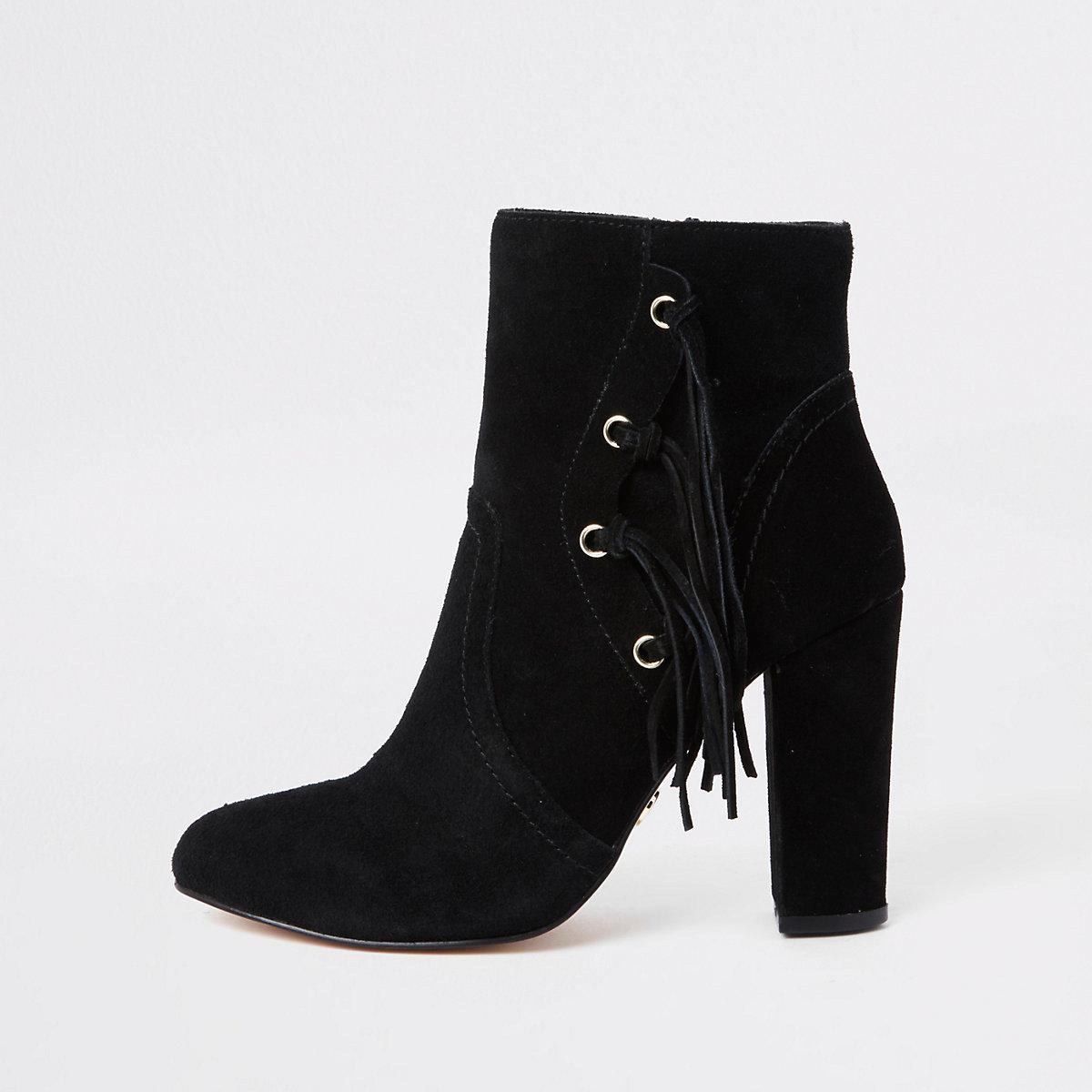 Black suede side tassel block heel boots
