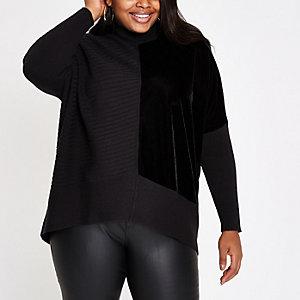 Plus black ribbed knit velvet panel jumper