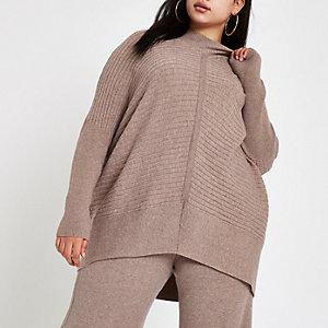Plus beige rib knit high neck jumper