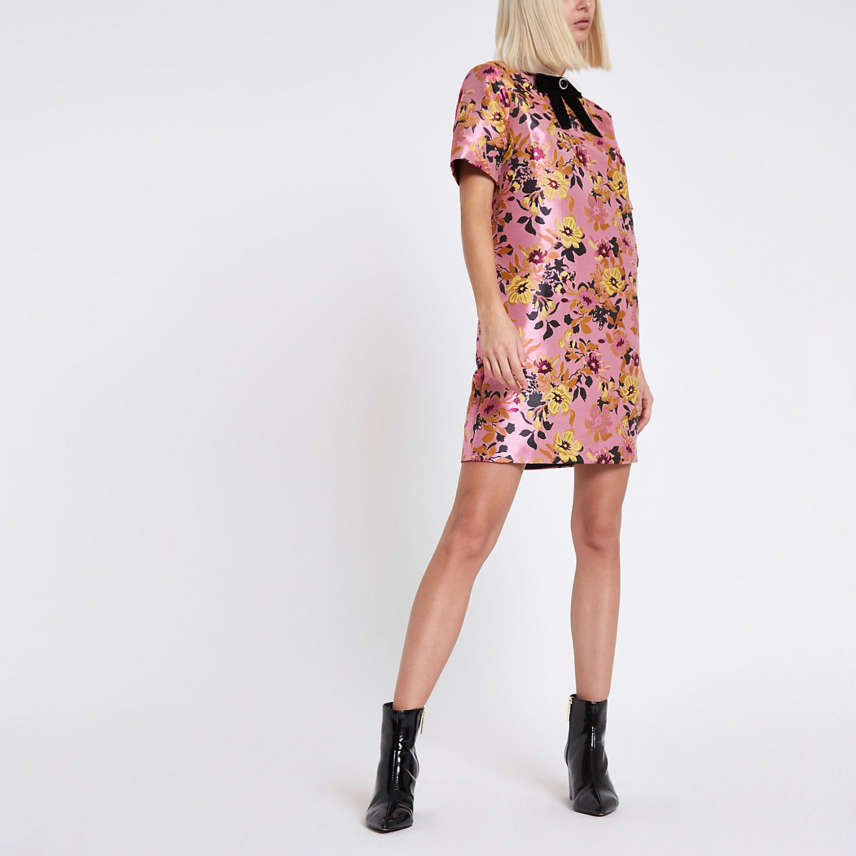 Pink floral jacquard shift dress