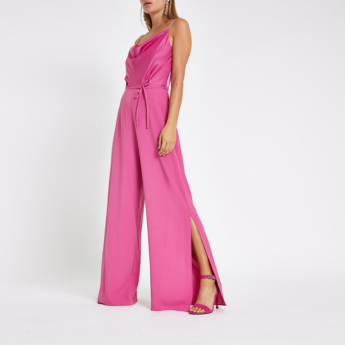 Dark Pink Cowl Neck Cami Strap Jumpsuit Jumpsuits Rompers