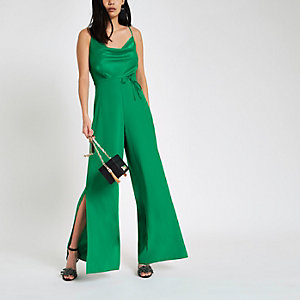 Green cowl neck cami strap jumpsuit
