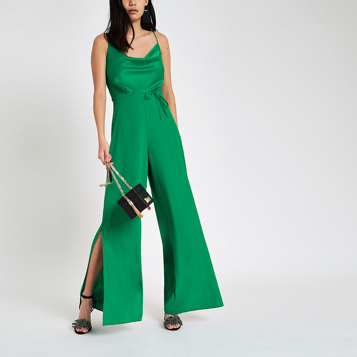 Green cowl neck cami strap jumpsuit