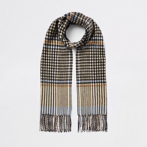 Brown check print skinny scarf