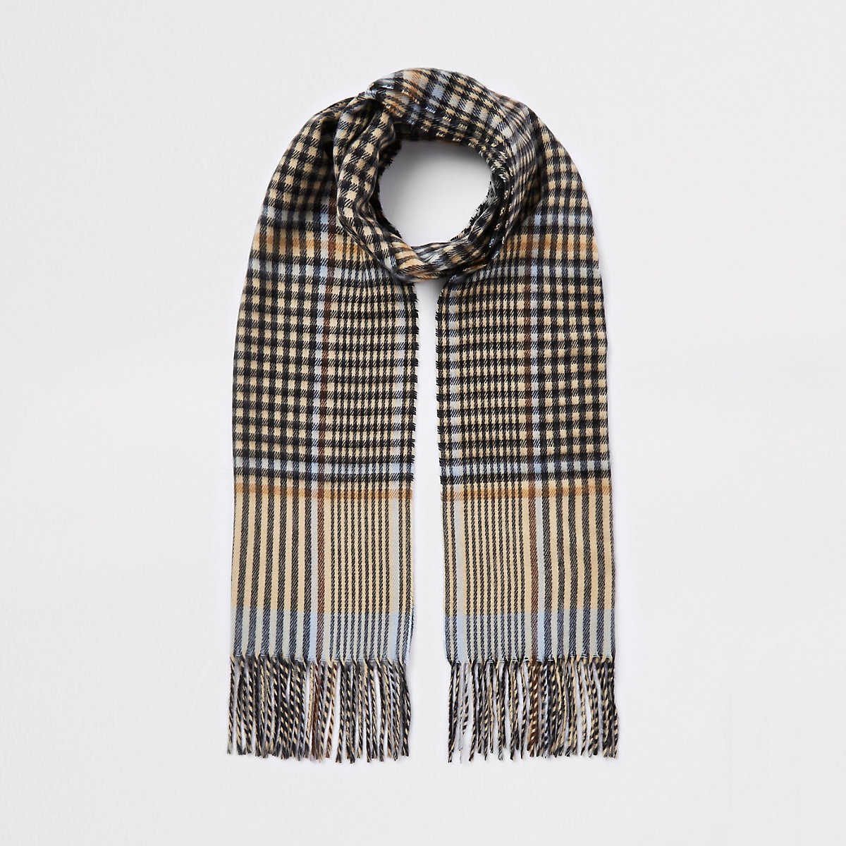 Brown check print skinny scarf