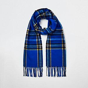 Blue tartan check scarf