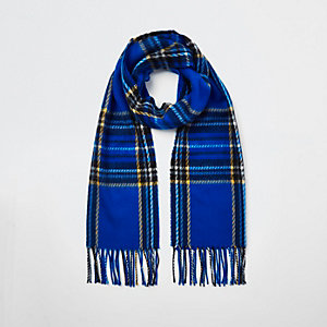 Blue plaid check scarf