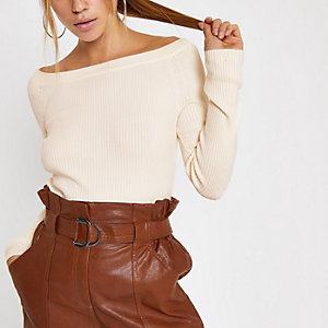 Cream bardot neck knit long sleeve top