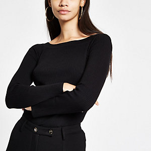 Black knit ribbed boat neck long sleeve top