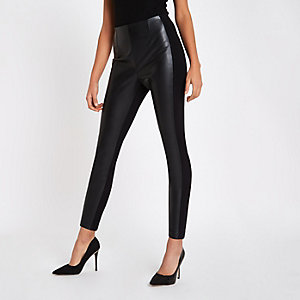 8bed3961710 Black faux leather and ponte leggings