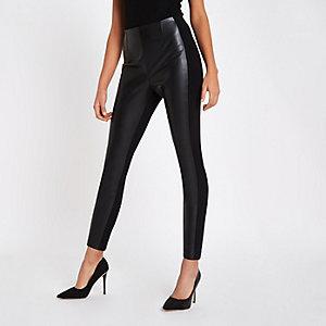 Zwarte legging van imitatieleer en ponte-stof