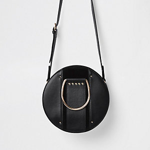 Black leather circle cross body bag