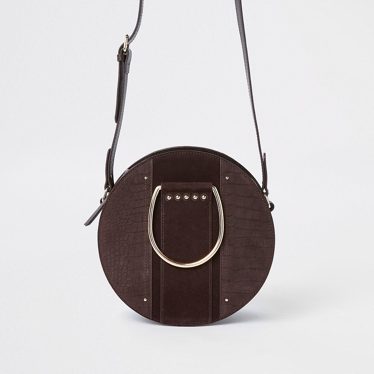 Brown croc ring handle circle cross body bag