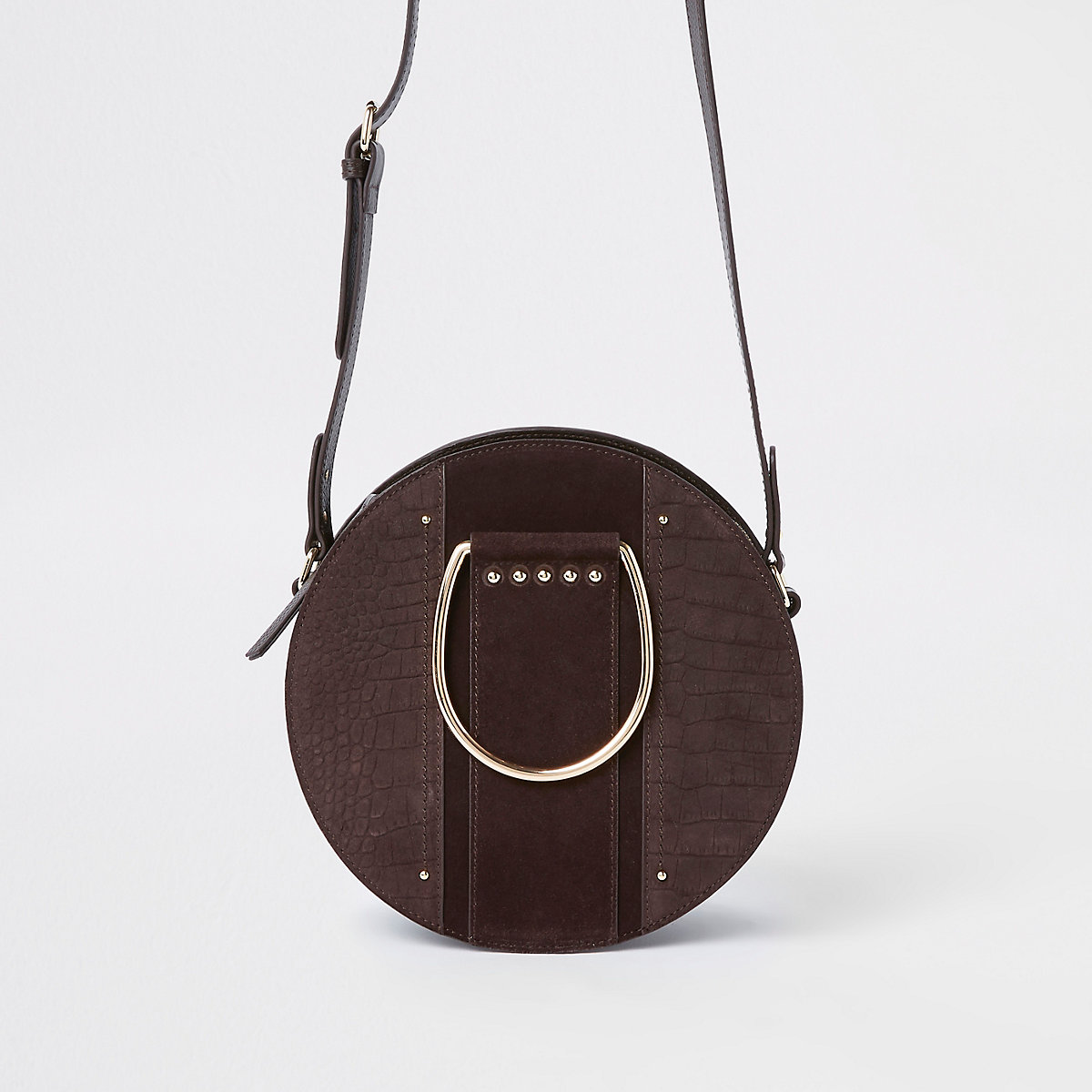 Brown croc ring handle circle cross body bag