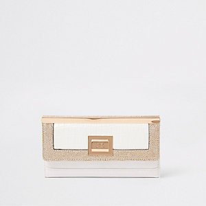 White glitter panel foldout purse