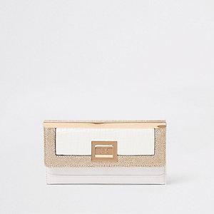 Portefeuille à rabat blanc avec empiècement à paillettes