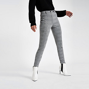 Grey check skinny pants