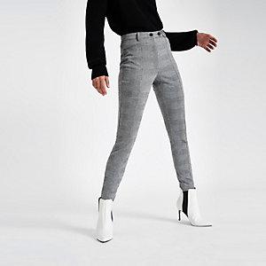 Pantalon skinny à carreaux gris
