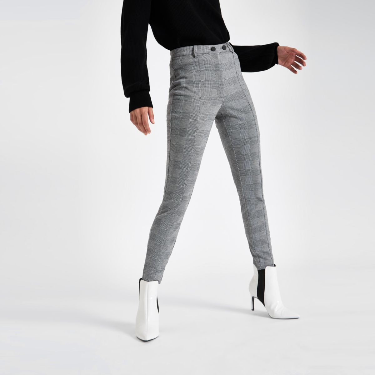 Grey check straight leg pants