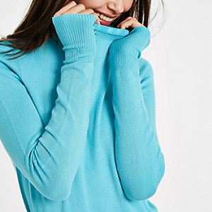 Blue frill high neck long sleeve turtleneck