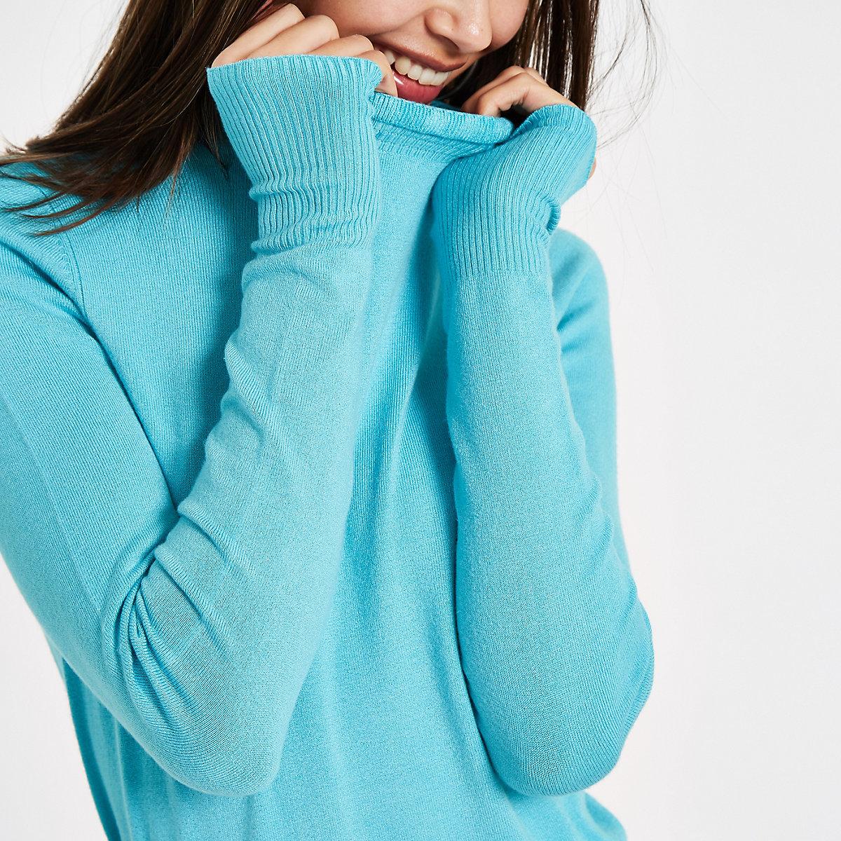 Blue frill high neck long sleeve turtleneck