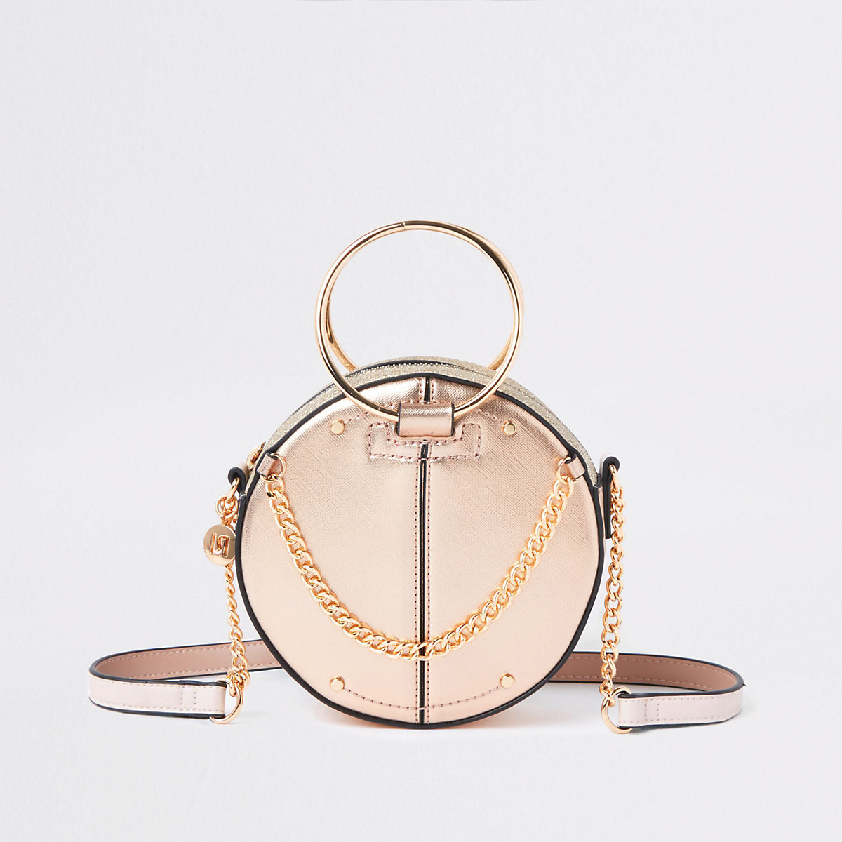 Rose gold ring handle circle cross body bag