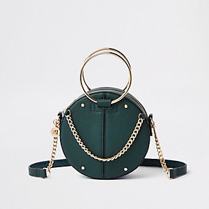 Green ring handle circle cross body bag