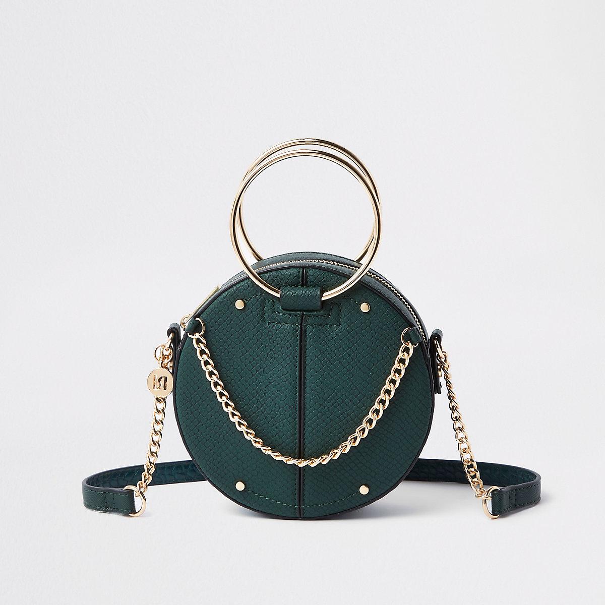 Green ring handle circle cross body bag