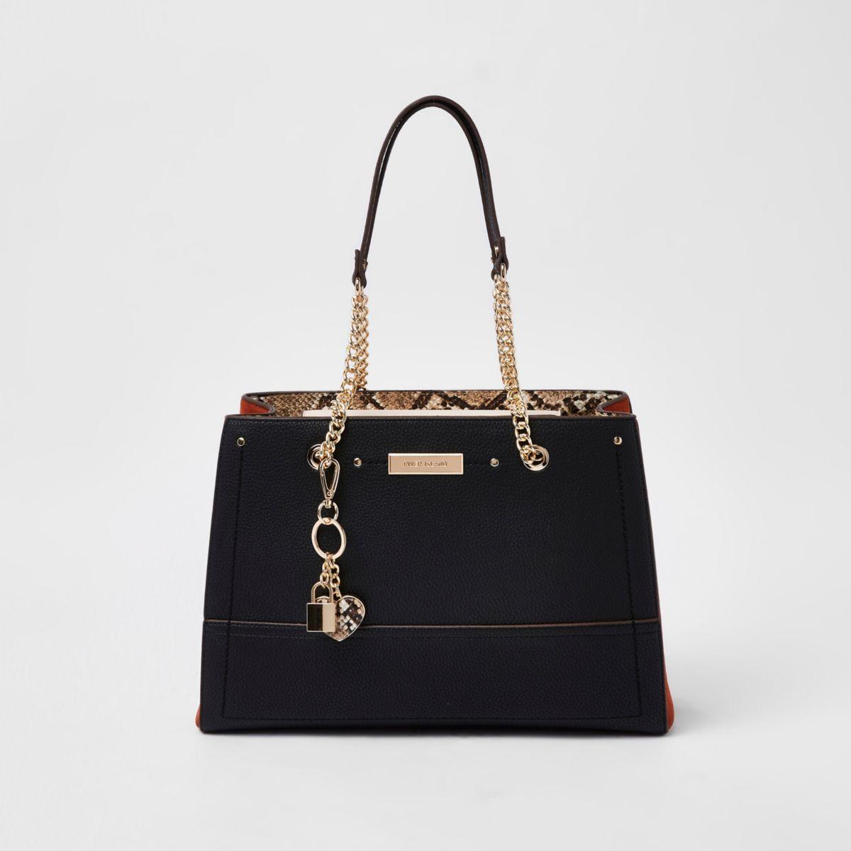 Black snake print chain handle tote bag
