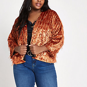 Plus – Samtjacke in Orange mit Kimonoärmeln