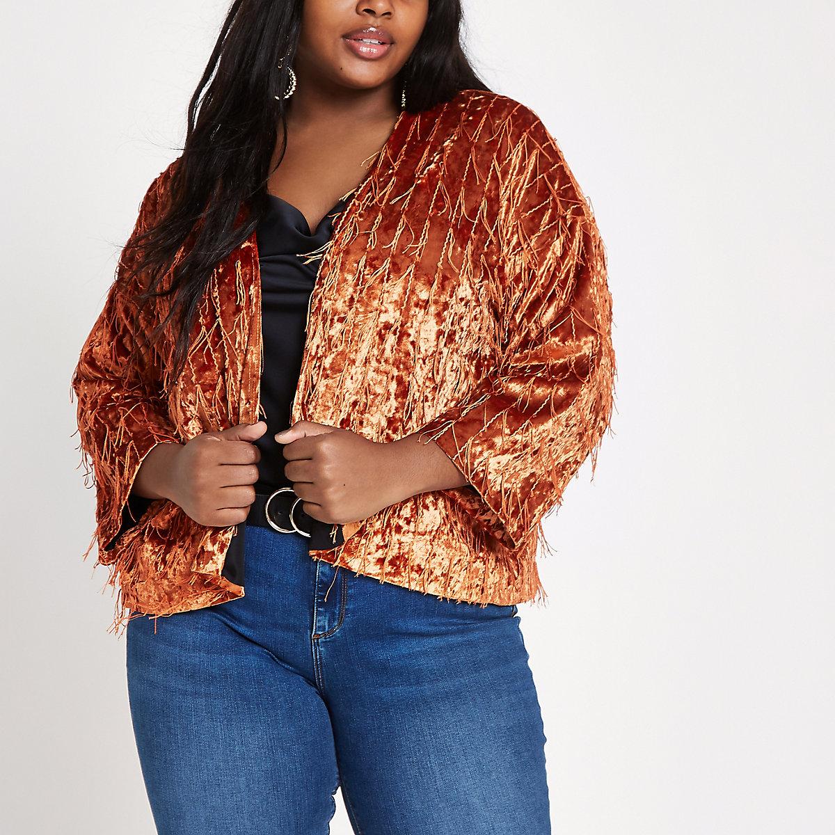 Plus orange velvet kimono sleeve jacket