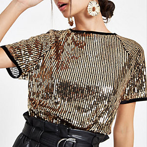 Gold sequin embellished T-shirt