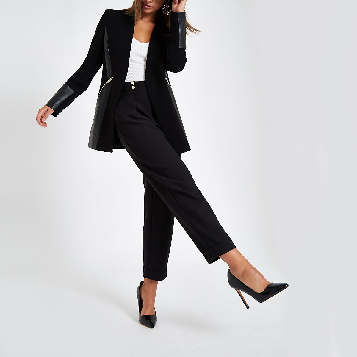 Black block faux leather lining jacket