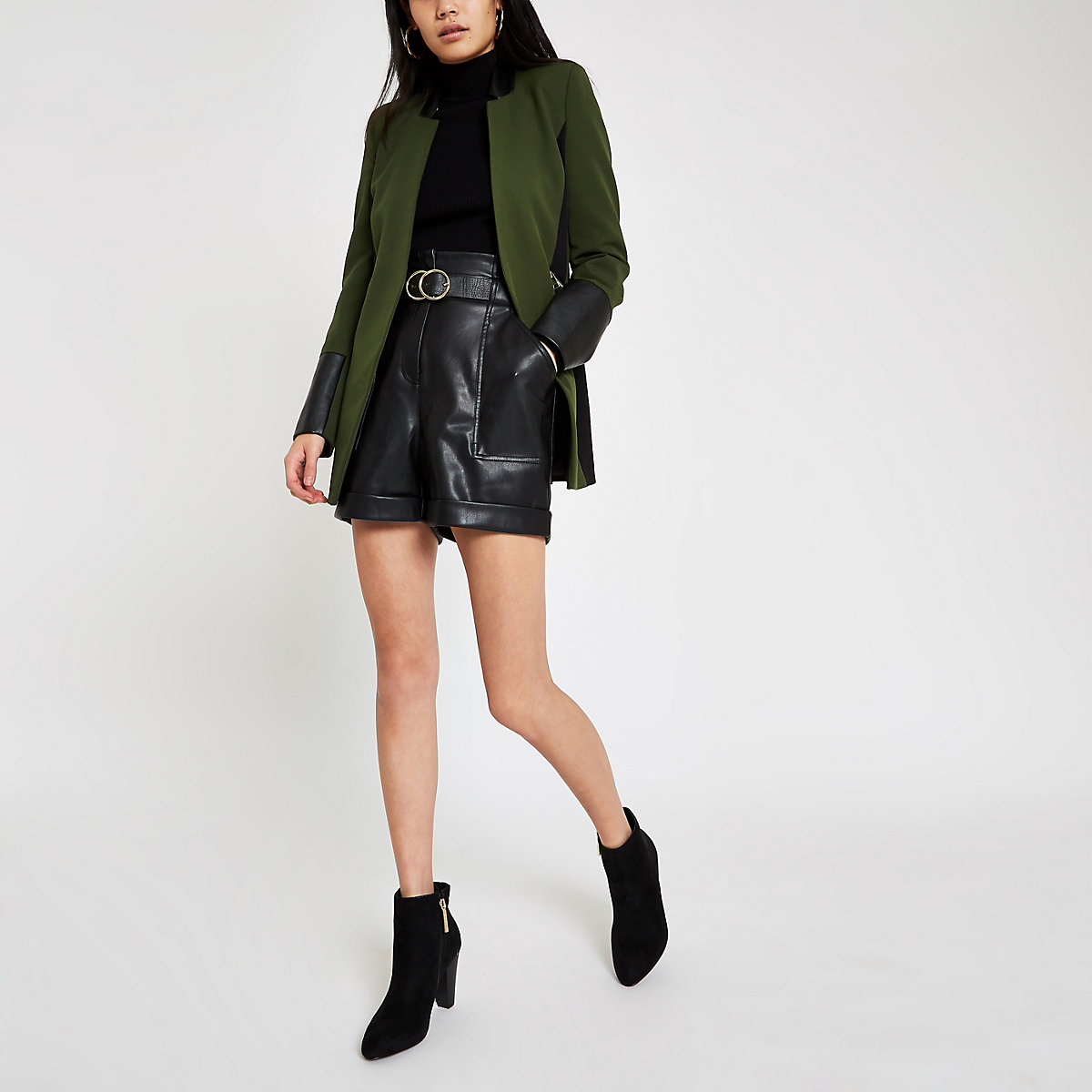 Khaki green faux leather trim blazer