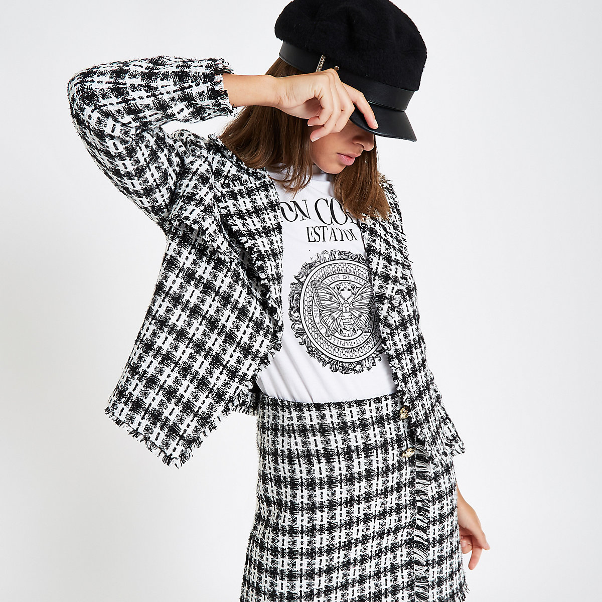 White check boucle cropped jacket