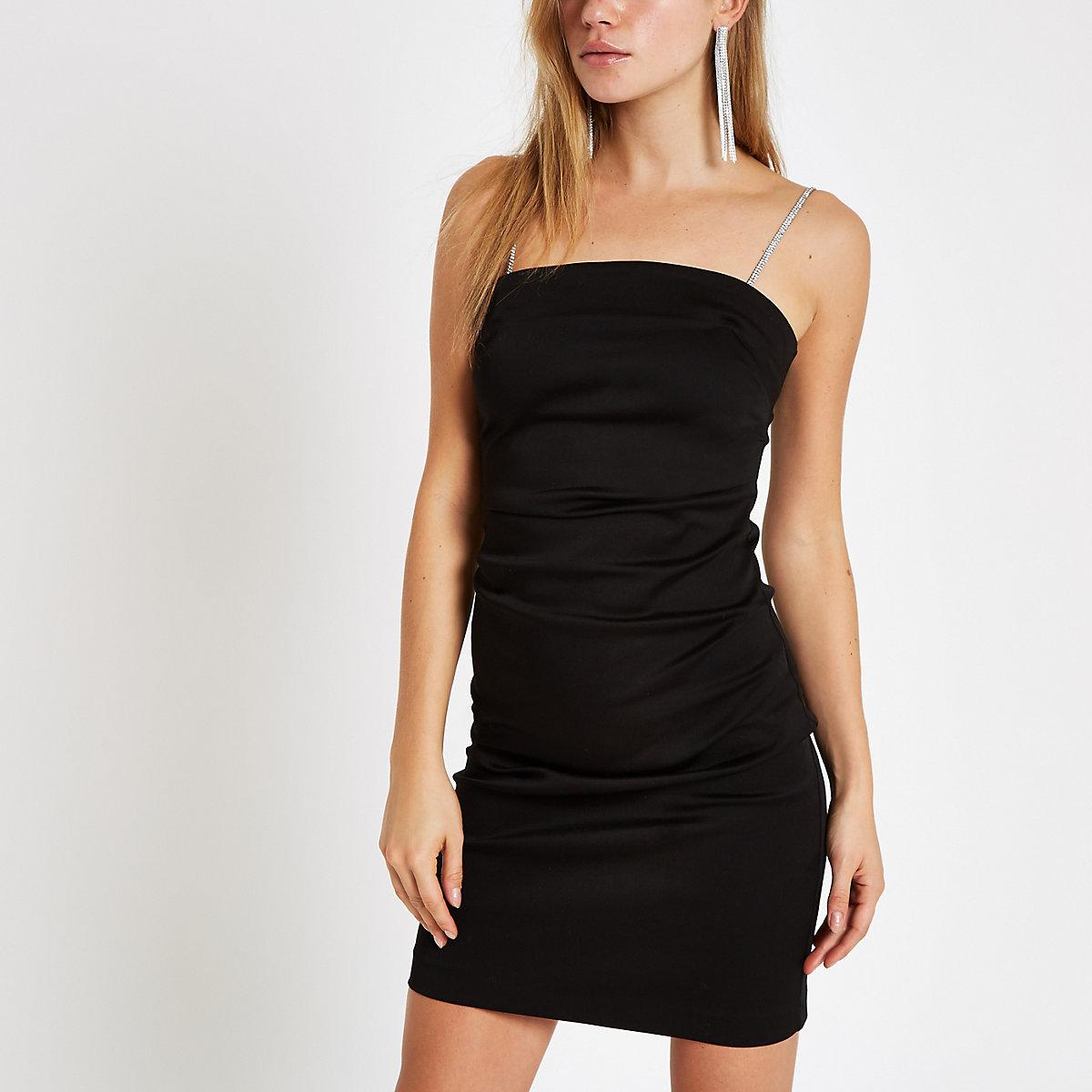 Zwarte mini-jurk met diamantjes en bandjes